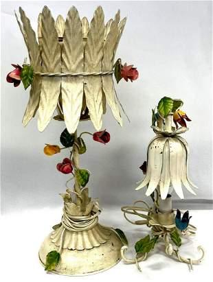 (2) Italian Metal Table Lamps Bearing a gilt paisley