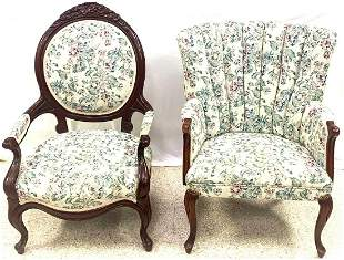 Two Upholstered Victorian Chairs