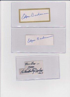 14: Edward Buchanan 1903-1979, 2 Autograph Signatures,
