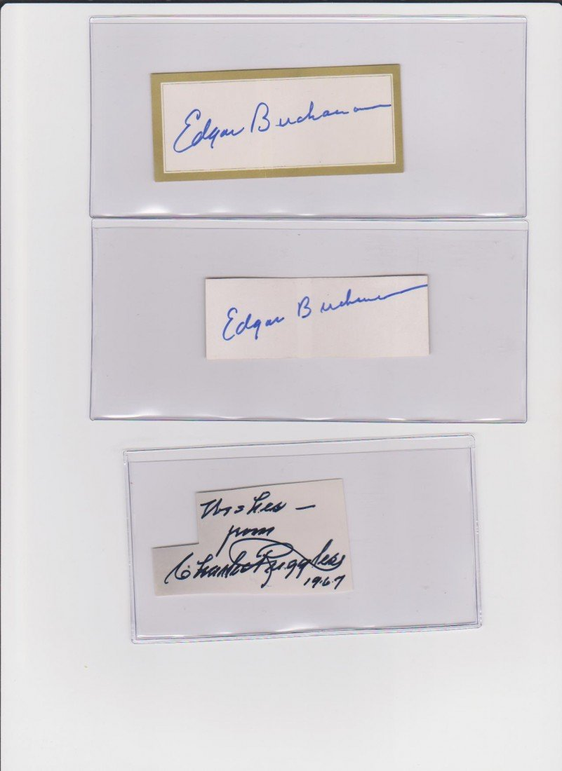 14: Edward Buchanan 1903-1979, 2 Autograph Signatures,
