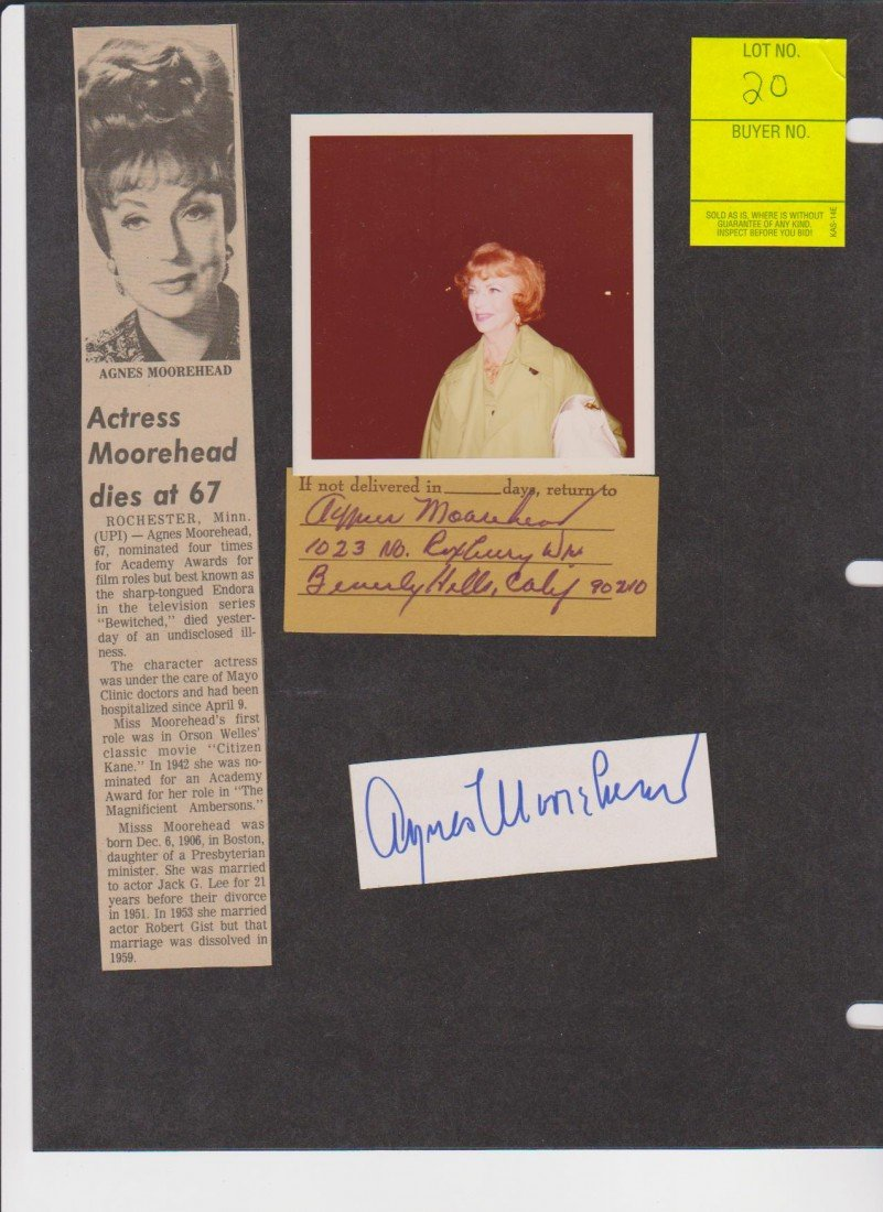 20: Agnes Morehead 1900-1974, 2 Autograph Signatures In