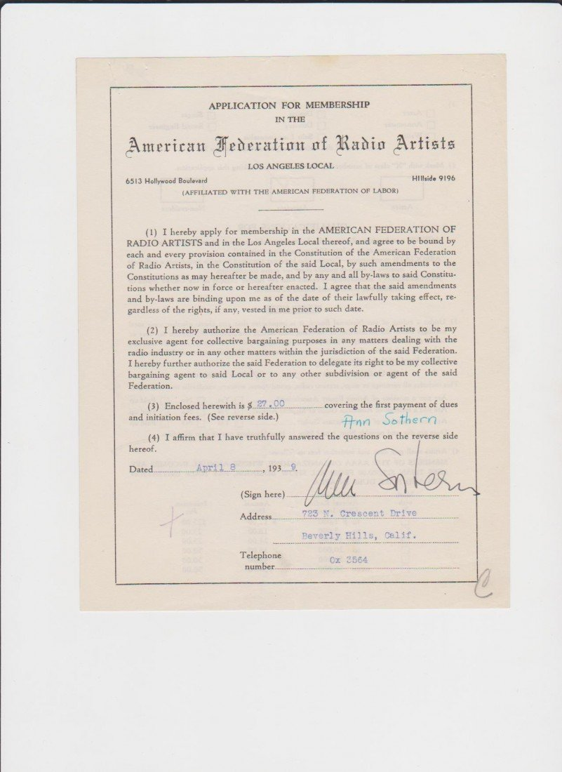 23: Ann Sothern 1909-2001, Signed Letter/Document Signe