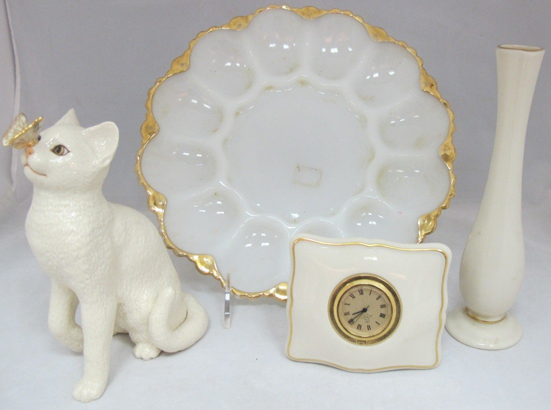 2: Milk Glass Oyster Plate, Lenox Clock, Lenox Vase and