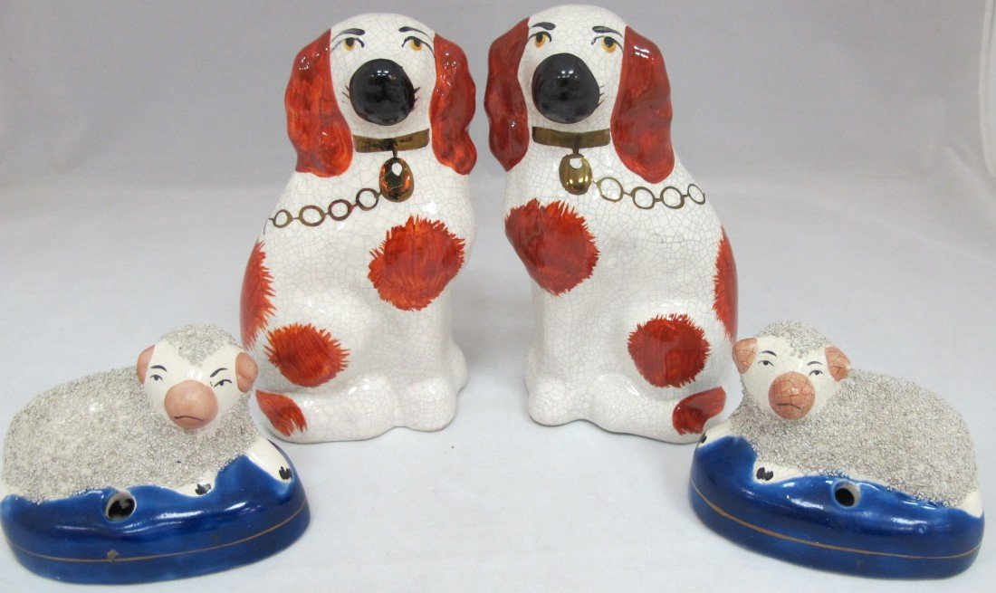 5: 2 Staffordshire Style Dogs and 2 Sheep