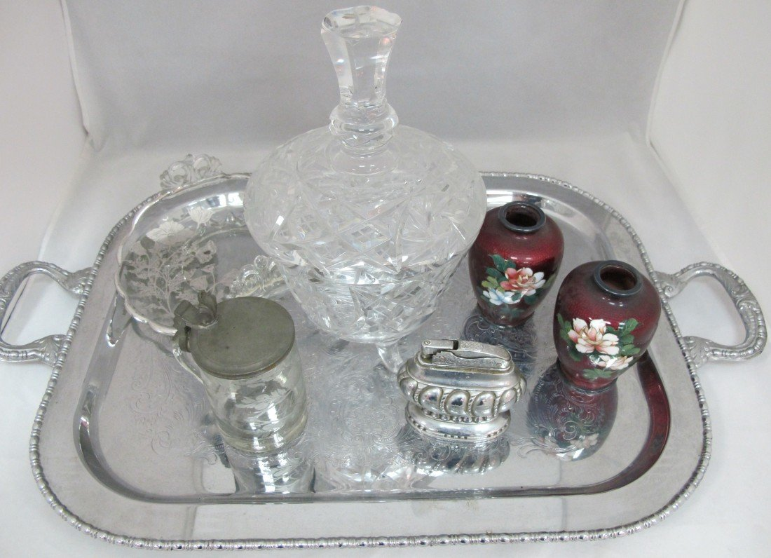 6: Silver Plated Tray, Cut Crystal Bisquet Jar, Silver