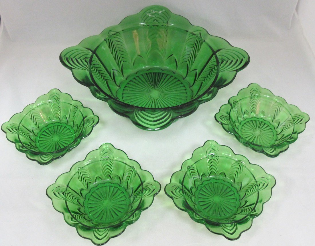 10: Green Depression Glass Berry Set Including Master B