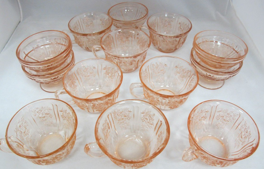 21: Cabbage Rose Pattern Pink Depression Glass Collecti