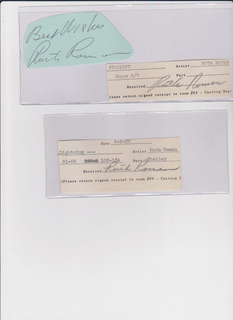 6: Ruth Roman 1922-1999, 2 Signed Documents & 1 Autogra