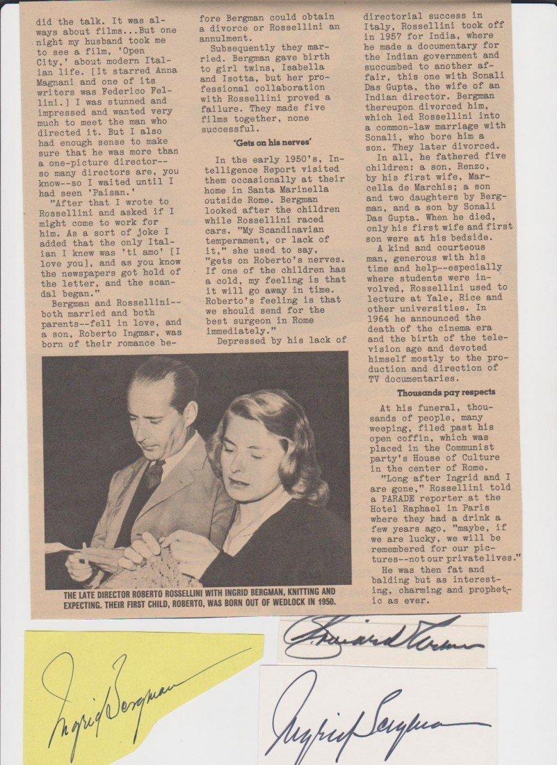 12: Ingrid Bergman 1915-1982, 3 Autograph Signatures, w