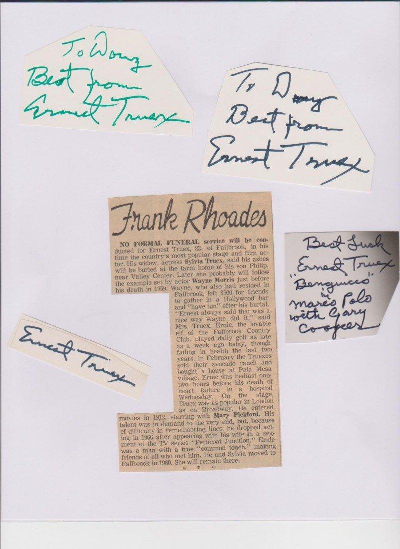 22: Ernest Truex 1889-1973, 4 Autograph Signatures & 1