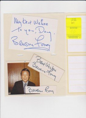 Benson Fong 1916-1987 3 Autograph Signatures And Pi