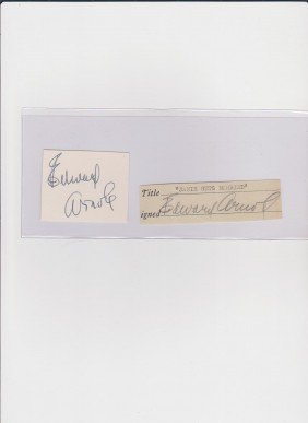 Edward Arnold 1890-1956, Signed Document & Autograp