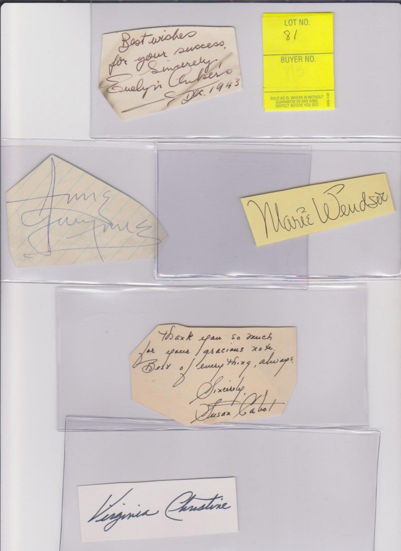 81: Collection of Autograph Signatures Including: Evely