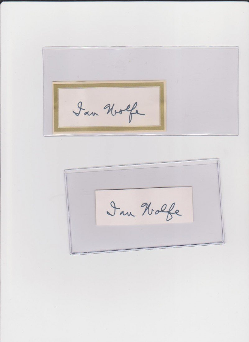 84: Ian Wolfe 1896-1992, 2 Autograph Signatures, Americ