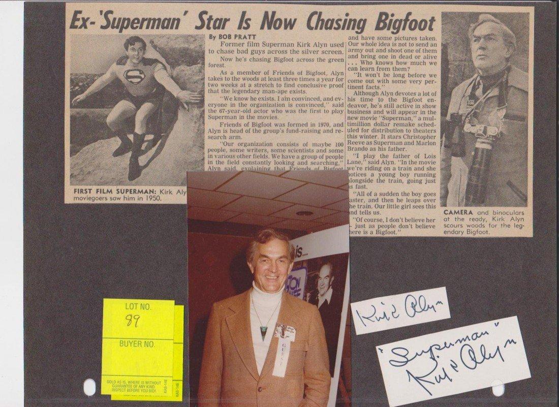 89: Kirk Alyn 1910-1999 2 Autograph Signatures, Photo &