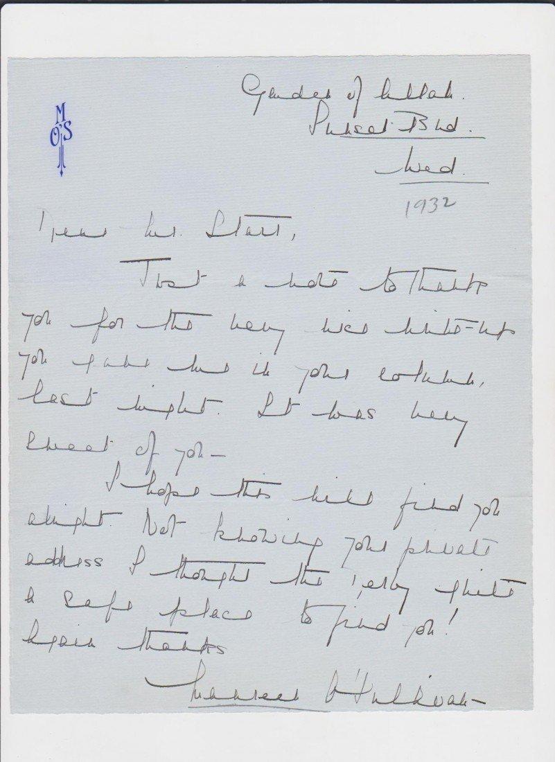95: Maureen O'Sullivan 1911-1998, Autograph Letter, Sig