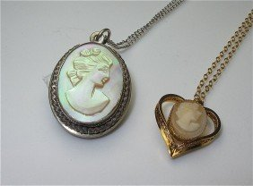 12K Yellow Gold Cameo Necklace & Sterling Silver Cam