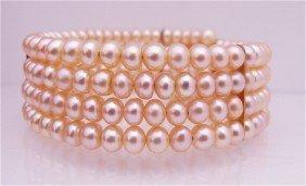 Four (4) Strand Pink Fresh Water Pearl Cuff Bracelet