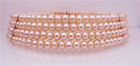 8: Four (4) Strand Pink Fresh Water Pearl Choker Neckla