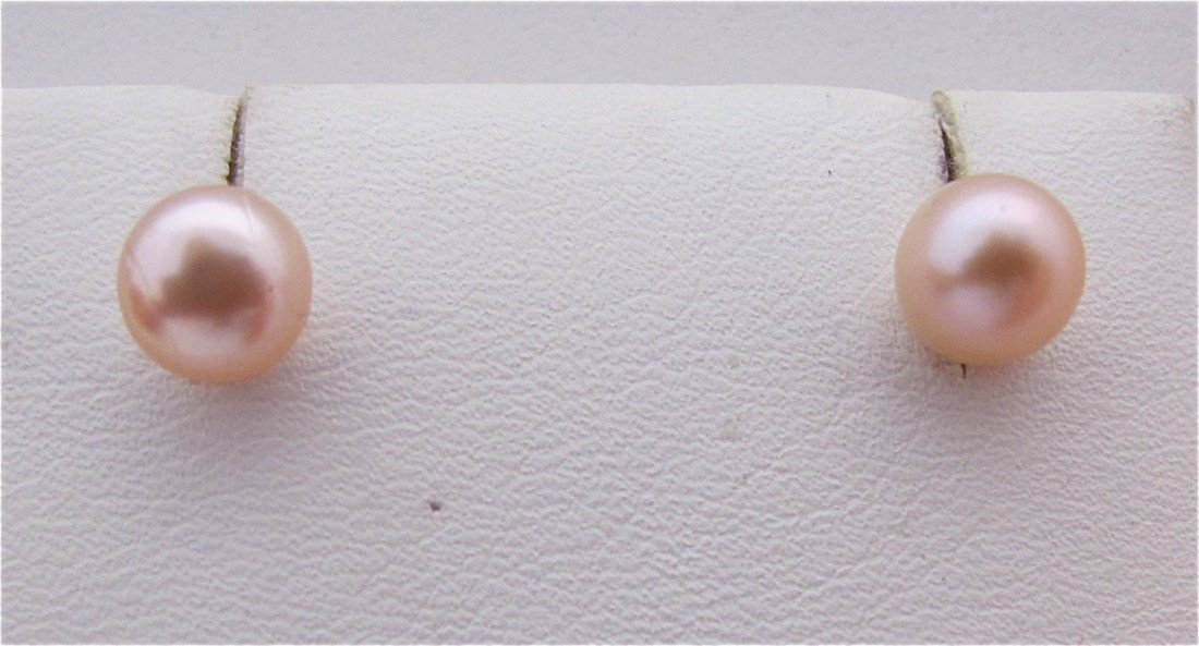 9: 6 1/2mm Pink Pearl Stud Earrings with Silver Posts