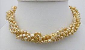 Five (5) Strand Gold Fresh Water Pearl Twist Neckla