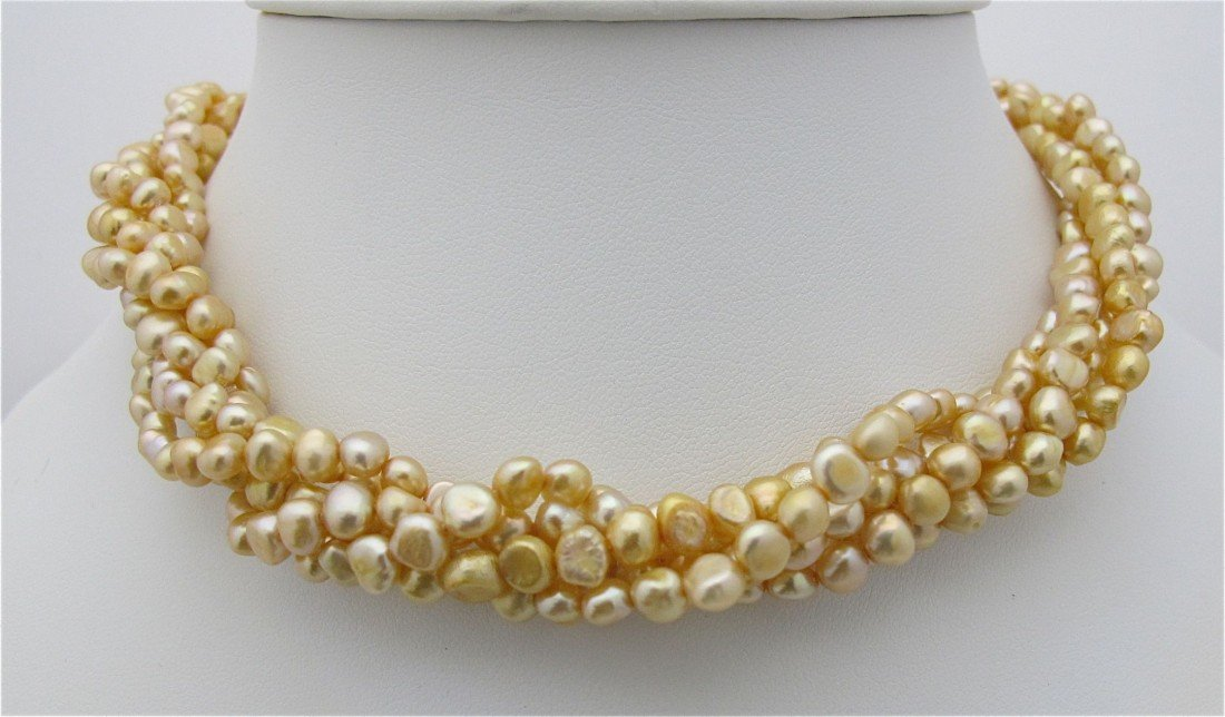 10: Five (5) Strand Gold Fresh Water Pearl Twist Neckla
