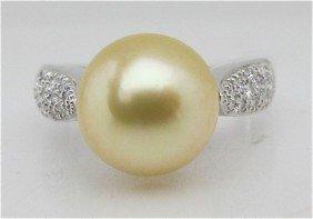 11: 14K White Gold, Gold South Sea Pearl and Diamond Ri