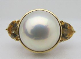 14: 14K Yellow Gold and White Gold Mabe Pearl and Citri