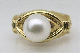 15: 14K Yellow Gold Pearl Ring, Pearl Measures 7 1/2mm