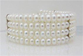 Four (4) Strand Fresh Water Pearl Cuff Bracelet