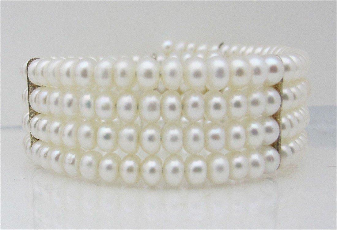 16: Four (4) Strand Fresh Water Pearl Cuff Bracelet