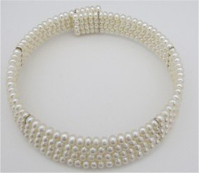 17: Four (4) Strand Fresh Water Pearl Choker Necklace
