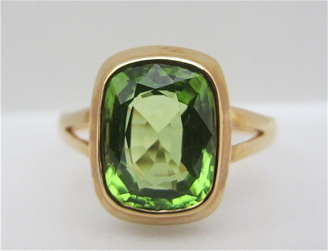 19: 18K Rose Gold Peridot Ring, Emerald Cut Peridot=3.3