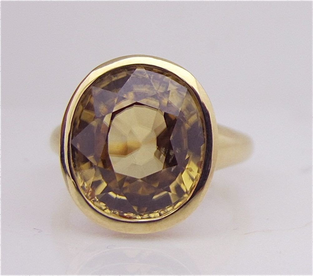 20: 14K Yellow Gold Citrine Ring, Oval Cut Citrine=11.6