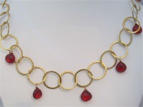22: 22K Yellow Gold over Sterling Silver Garnet Necklac