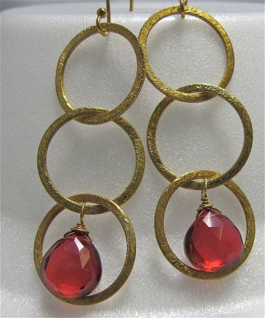 23: 22K Yellow Gold over Sterling Silver Garnet Earring