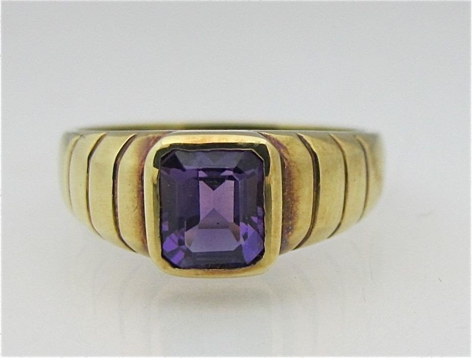 24: 14K Yellow Gold Amethyst Ring, Emerald Cut Amethyst