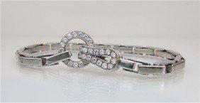 122: Cartier 18K White Gold Diamond Bracelet Diamonds=a