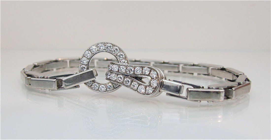 122: Cartier 18K White Gold Diamond Bracelet Diamonds=a
