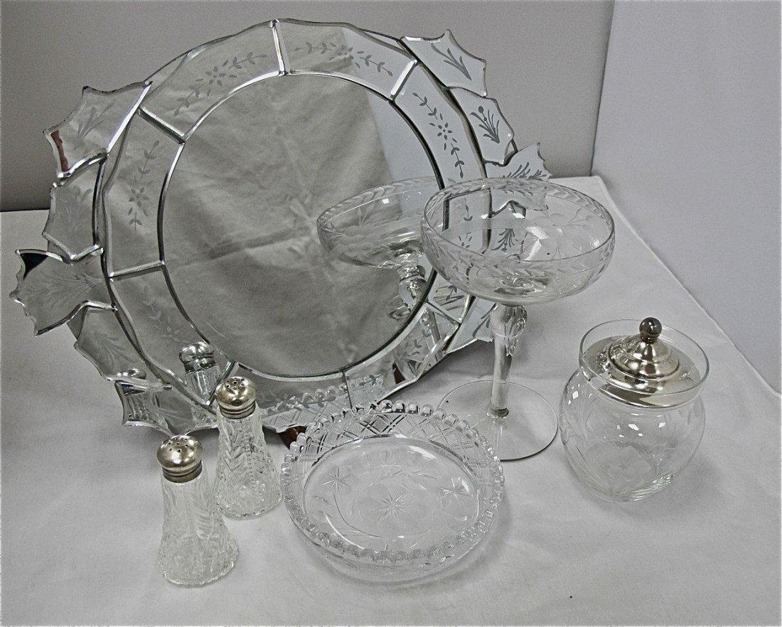 1: 6 Piece Sterling Silver & Crystal Set Including Etch