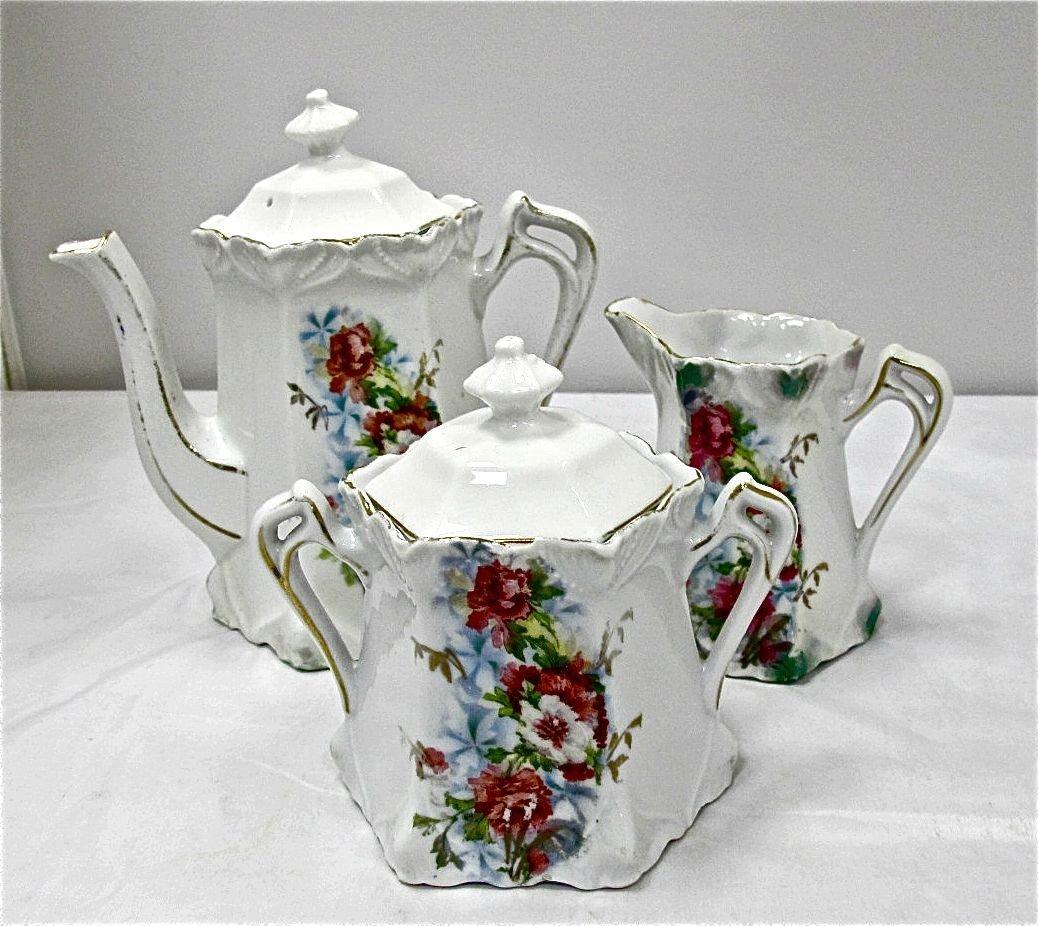 3: Antique Painted Porcelain Tea Pot, Sugar & Creamer,