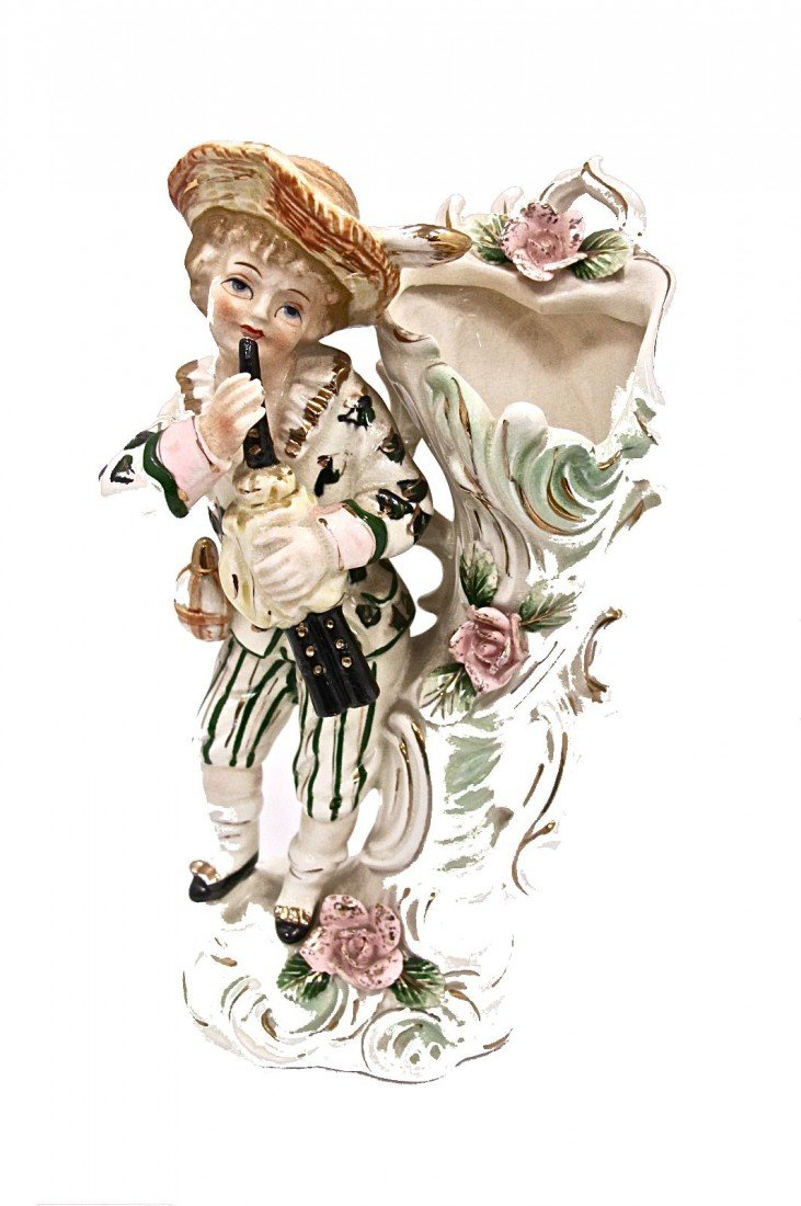 5: Continental Porcelain Figural Vase (Roses have small
