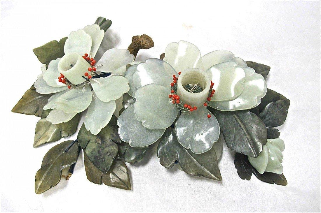 8: Pair of Serpentine Jade Candle Holders