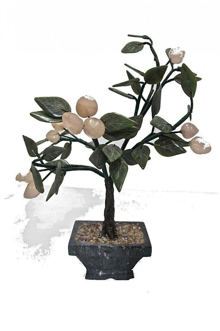 "10: Rose Quarts & Jade Cherry Tree On Jade Base, 10"" hi"