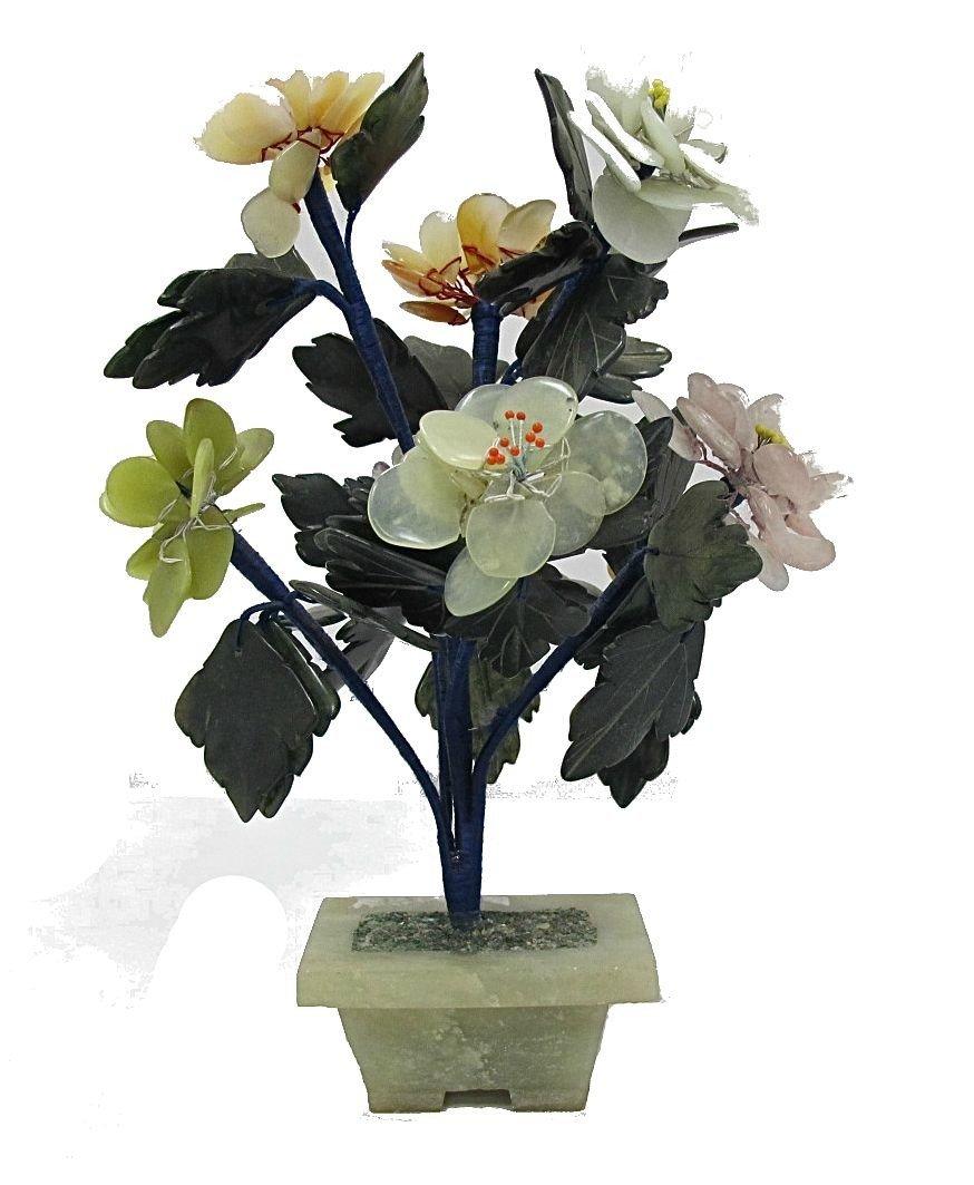 12: Jade, Agate, Amethyst & Rose Quartz Tree on Jade Ba