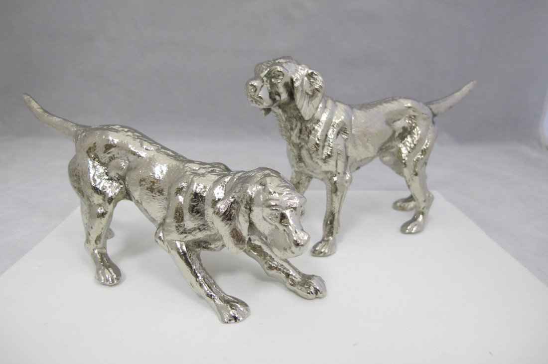17: Pair of Silver Plated Retrievers By Roberto Rossi,