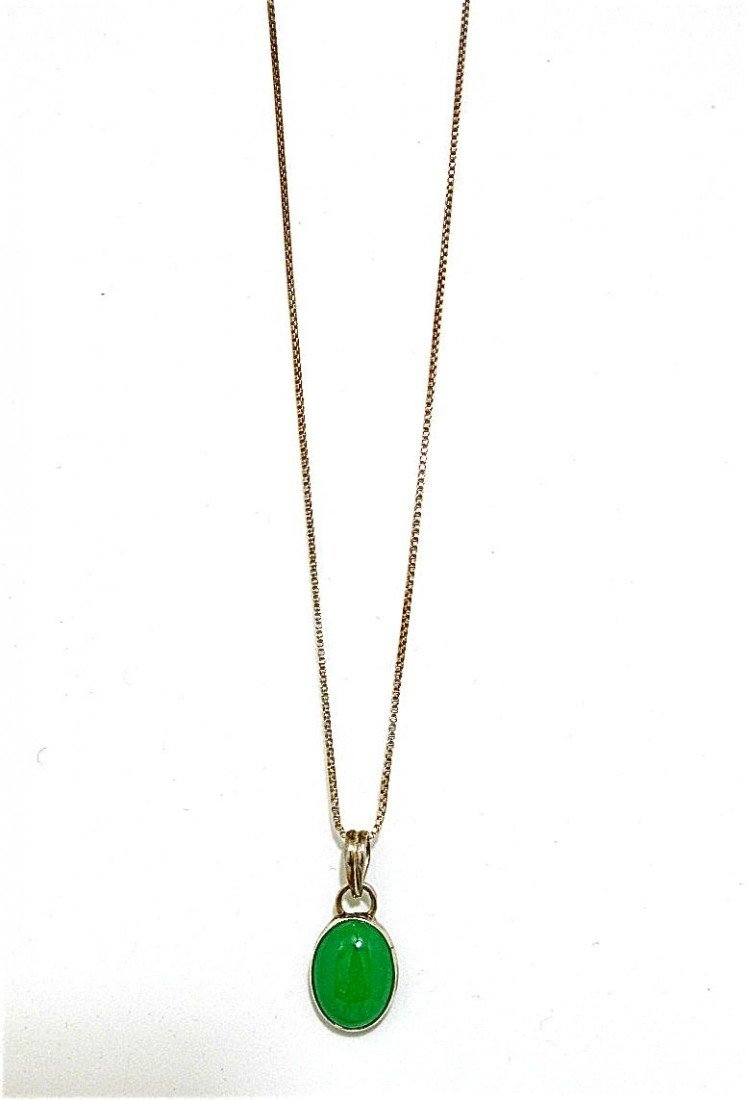 23: Sterling Silver Jade Drop Pendant, Stamped 950, On