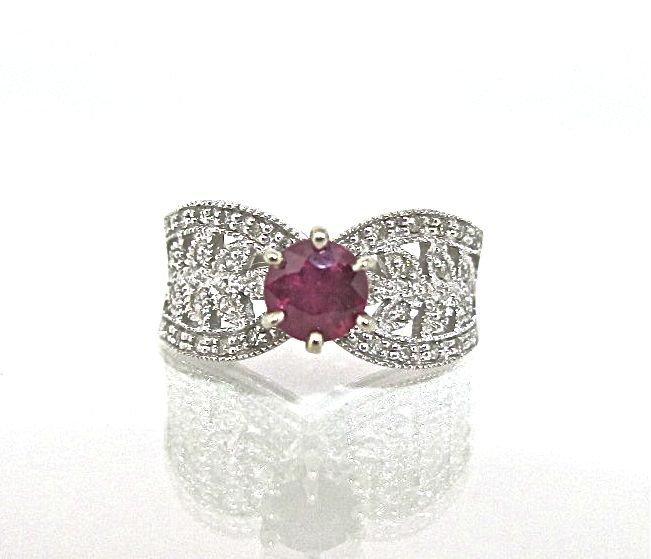43: 10K White Gold Ruby & Diamond Deco Style Ring Conta