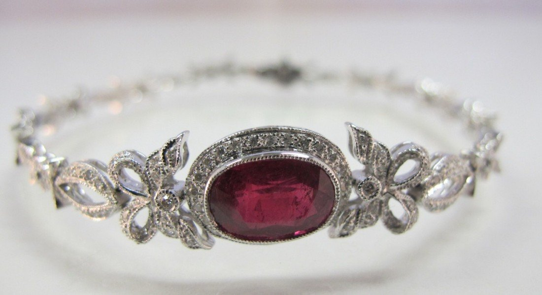 46: 18K White Gold Ruby & Diamond Deco Style Bracelet C