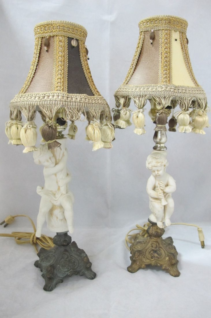 1: Pair of Porcelain Bisque Figural Lamps